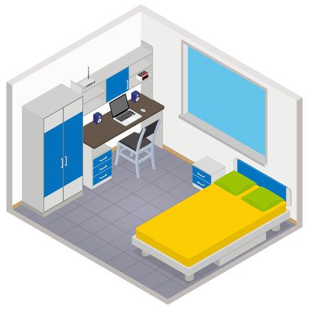 ベクトル等尺性子供の部屋のアイコン - 3 D イラストレーション  イラスト・ベクター素材