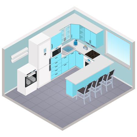 Vector isometric kitchen interior - 3D illustration