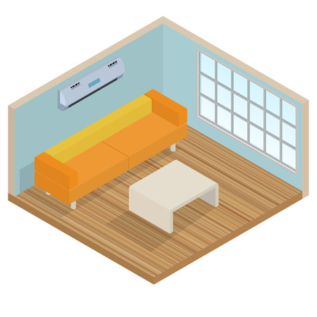 wood room: Isometric interior lounge room - 3D illustration