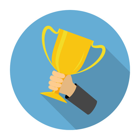 Vector trophy cup flat icon on blue background Vector