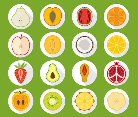 persimmon: Vector fruit icon set with long shadow - pear peach apricot watermelon orange apple melon coconut lemon strawberry avocado papaya pomegranate persimmon kiwi pineapple banana