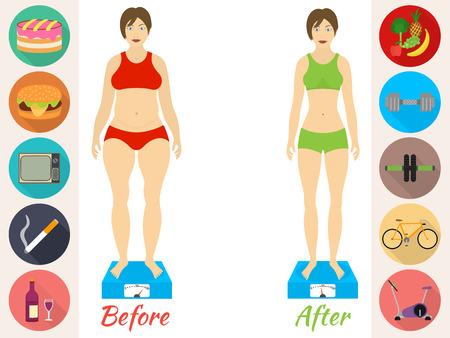 피트니스 및 스포츠, 건강 한 라이프 스타일의 인포 그래픽은, 여성은 이전과 다이어트 후 존재 일러스트