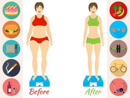 weight loss: Infographic of fitness and sport, healthy lifestyle, women exists before and after the diet
