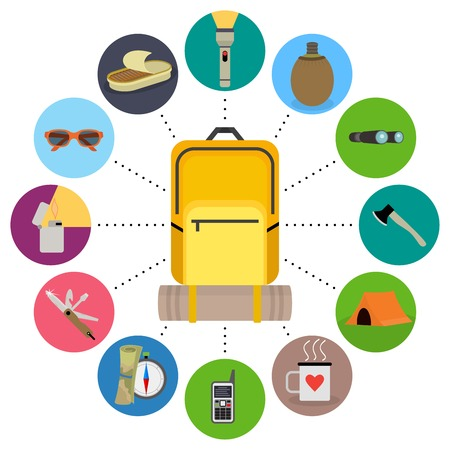 contents: Traveler backpack contents. Tourism objects in round frame. Vector clip art illustrations isolated on white