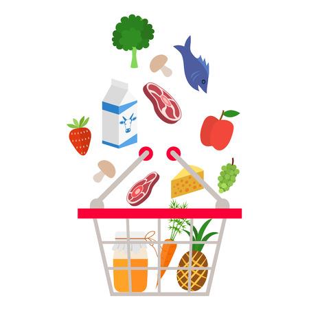 食料品・飲料バスケット - 白い背景の上の図の中に落ちて