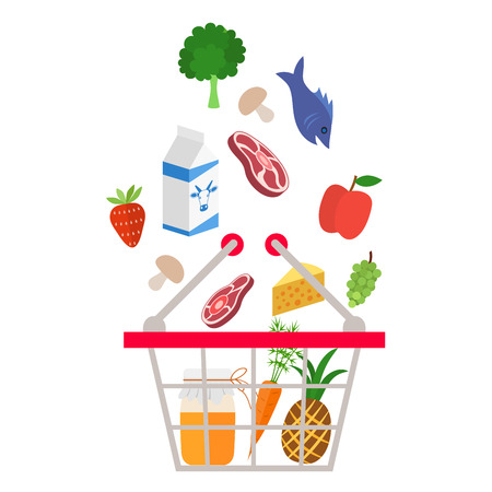 supermarket: Food and drink products falling down into basket - illustration on white background Illustration