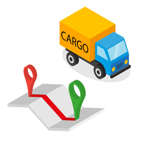 Delivery cargo and map with pins - illustration on white background Çizim