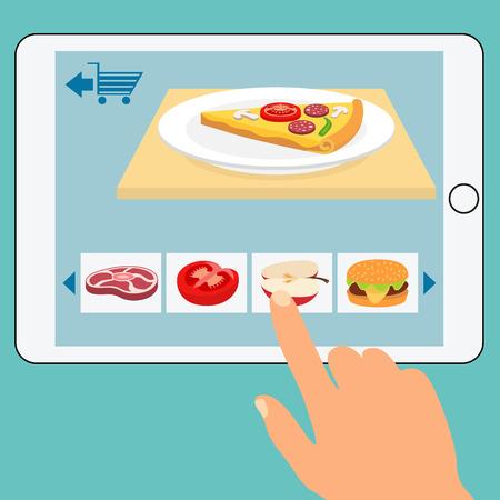 食料品のオンライン ストアのコンセプトです。注文食品を買う。ネットワーク配信、購入して小売、ビジネス コンセプトは、ベクトル イラスト
