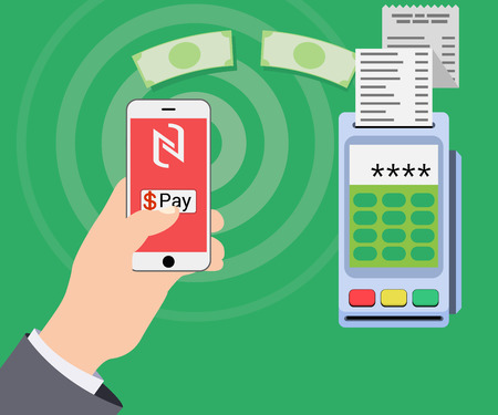 checkout line: Mobile payments and near field communication. Transaction and paypass and NFC. Vector illustration Illustration
