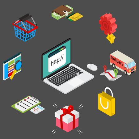 online icon: Isometric illustration of online shopping with laptop and icons