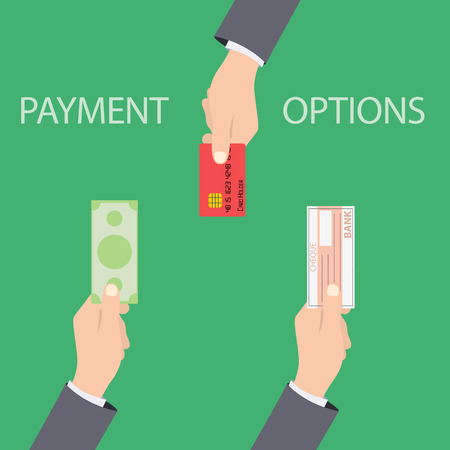 debet: Vector concept of payment options in flat style - illustration on green background Illustration