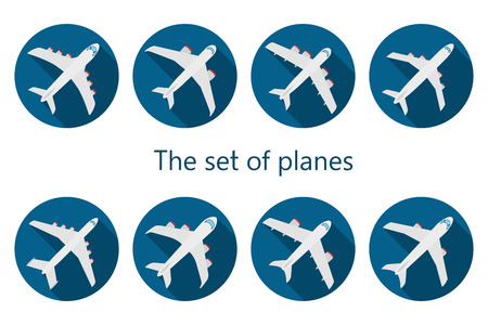 air liner: Vector set of different airplane icon with long shadow