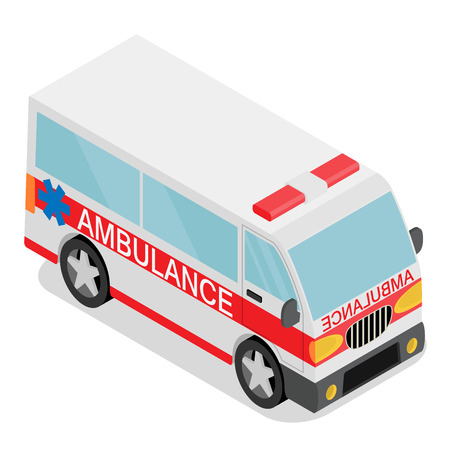 Vector illustration of ambulance car. Isometric view of transport.