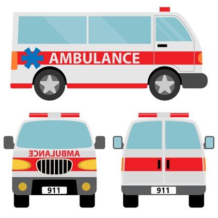 ambulancia: Coche de la ambulancia. Ilustración del vector aislado en el fondo blanco Vectores