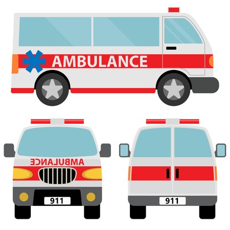 Ambulance car. Vector illustration isolated on white background