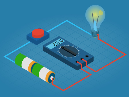 infographic of measurement multimeters voltage circuit from battery, buttons and lights - isometric illustration Çizim