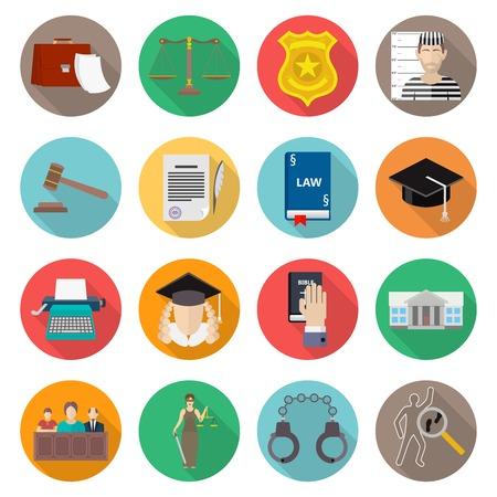 jury: Law icon flat set with lawyer jail court jury isolated vector illustration Illustration