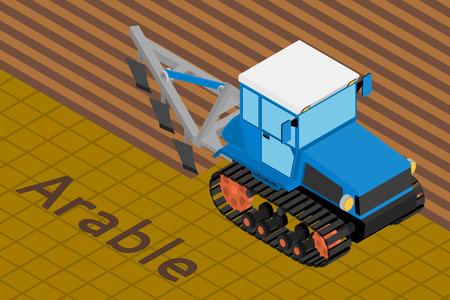 tillage: Isometrico illustrazione vettoriale di un trattore cingolato agricola lavorazione del terreno con aratro un campo. Attrezzature per l'agricoltura.