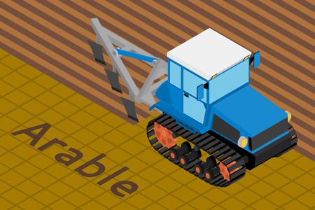 plow: Vector isometric illustration of a agricultural crawler tractor with plow tillage a field. Equipment for agriculture. Illustration