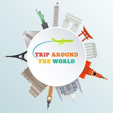 vector illustration of historical monument around earth - trip around the world
