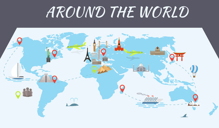 travel destination: Illustration of vector flat design postcard with famous world landmarks icons on the map