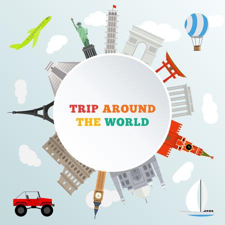 vector illustratie van de historische monument rond de aarde - reis rond de wereld