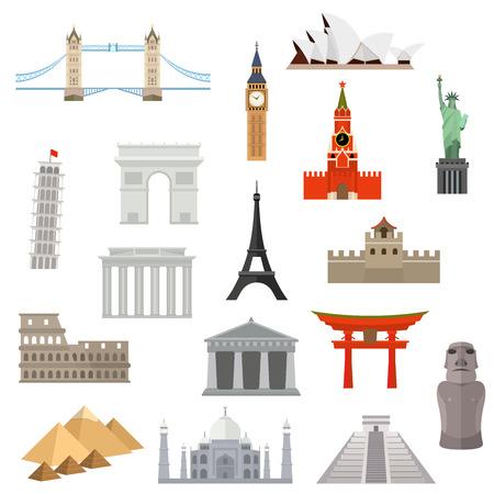 世界のベクトル アイコン デザイン テンプレートの国。建築、記念碑またはランドマークのアイコン。