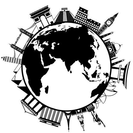 Het concept van rond de wereld. Beroemde internationale oriëntatiepunten
