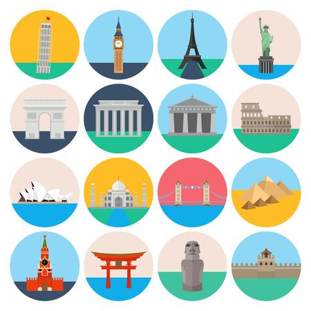 icone tonde: Un set di icone rotonde colorate viaggiare e monumenti