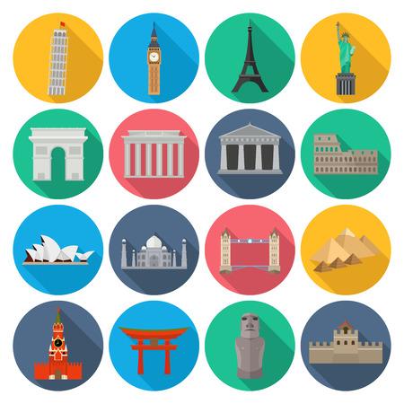 Wereld Landmark Icon Set met lange schaduw