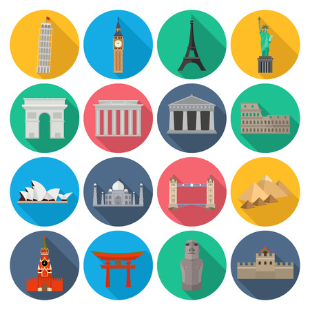 World Landmark Icon Set With Long Shadow