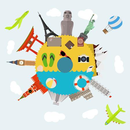 有名な世界のランドマーク アイコンを持つフラット デザイン旅行構成の図