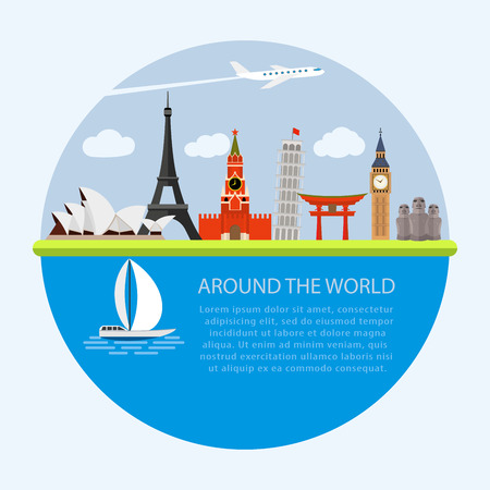 Vector illustration of flat design composition with world famous landmarks icons Çizim