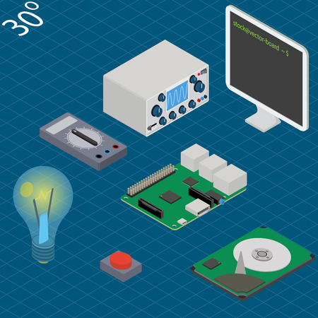 electronic research laboratory. Isometric illustration with multimeter, oscilloscope, monitor, mini-pc main board, button, hdd and lamp Иллюстрация