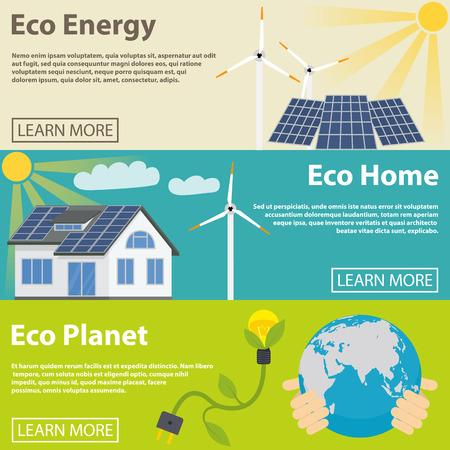 energías renovables: Banner horizontal de energía Eco conjunto con elementos planos caseras del planeta verde aislado ilustración vectorial