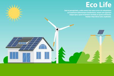 Behoud van het milieu en het gebruik van hernieuwbare energiebronnen - zonne-energie en windenergie. Ecohuis en straatverlichting.
