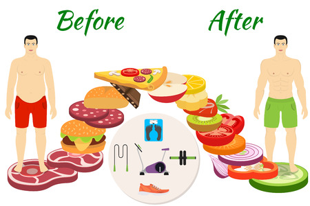 Fitness and sport, healthy lifestyle, men before and after the diet and fitness Illustration