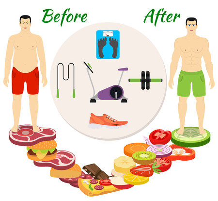 Fitness and sport, healthy lifestyle, men before and after the diet and fitness Çizim