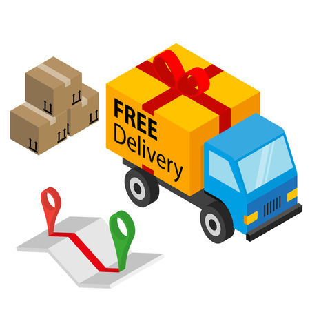 Delivery cargo and map with pins and box - isolated on white