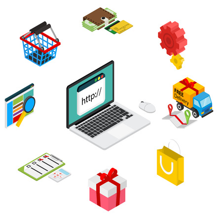 Isometric illustration of online shopping with laptop and icons - isolated on white Çizim