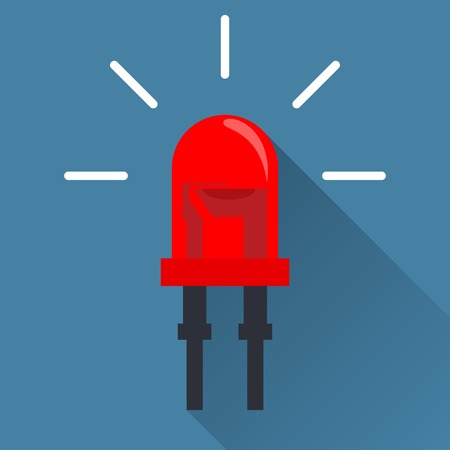 light emitting diode: Red Light Emitting Diode. Flat design icon with long shadow Illustration