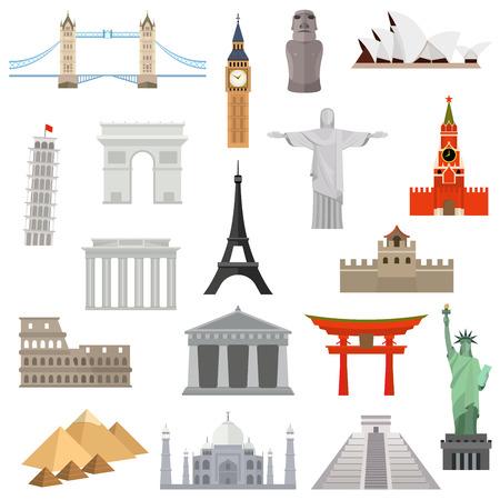 世界のベクトルのロゴのデザイン テンプレートの国。建築、記念碑またはランドマーク アイコン背景白に設定  イラスト・ベクター素材