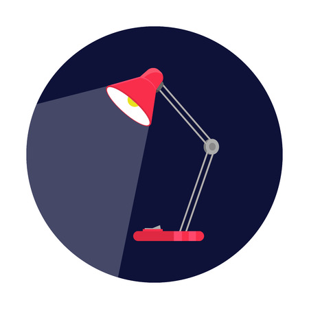 lamp light: table-lamp, desk lamp, reading-lamp with light, flat style vector illustration Illustration