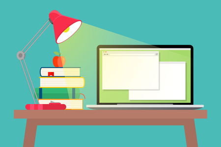 the paperwork: Workspace flat style. Textbook and apple, stack book and table lamp, paperwork and workplace, vector illustration Illustration