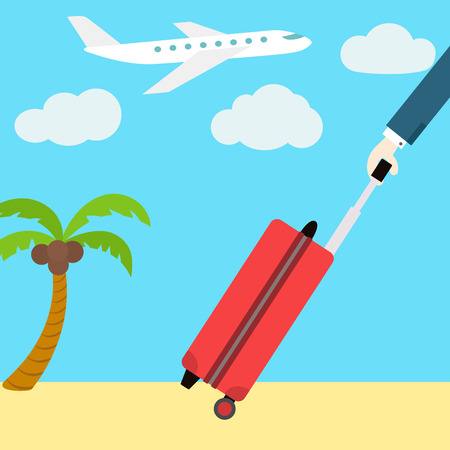 luggage airport: Vector flat web banner. Go on vacation. A man with a suitcase on wheels. Plane and palm tree in the background.