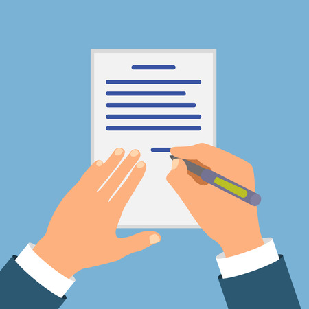 contracts: Colored Cartooned Hand Signing Contract Graphic Design on Blue Background. Illustration
