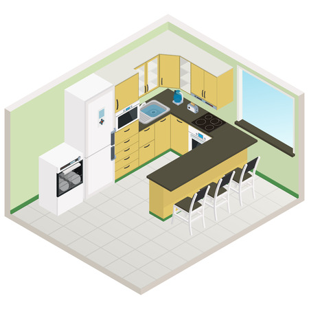 Vector isometric kitchen yellow-green color interior - 3D illustration