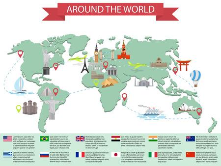 путешествие: Инфографики мир Достопримечательности на карте. Кремль, Эйфелева, Биг-Бен, Тауэрский мост, Пизанская башня, Великая китайская стена, Япония, Индия и другие места. Векторная иллюстрация