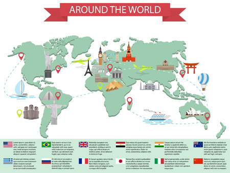 tours: Infographic world landmarks on map. Kremlin, Eiffel, Big Ben, Tower Bridge, Leaning Tower, Great Wall, Japan, India and other places. Vector illustration