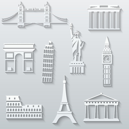 World landmarks, abstract flat paper icons set - Big Ben, Tower Bridge, The Statue of Liberty, Leaning Tower, Eiffel, Colosseum, Parthenon, Brandenburg Gate Illustration